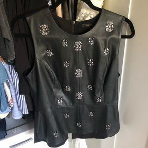 Leather peplum top with beading